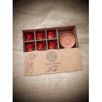 Mini Set 3 Kırmızı (6 kişilik) Cezvesiz lokumluksuz